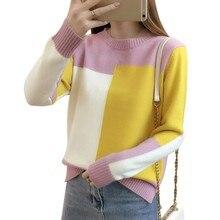 2019 Otoño Invierno estilo coreano contraste Color suéter mujer de manga larga Jersey y Jersey de punto suéter de mujer