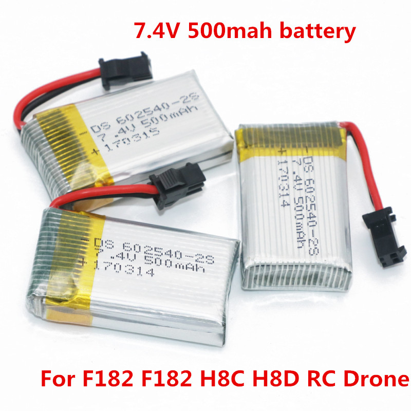 Remote Control RC Drone <font><b>Battery</b></font> 2pcs or 3pcs <font><b>7.4V</b></font> <font><b>500mah</b></font> <font><b>battery</b></font> for F182 F182 H8C H8D RC Drone Helicopter spare part <font><b>battery</b></font> image