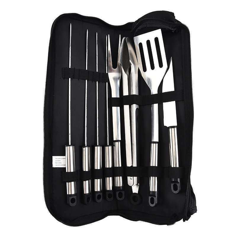 Acier inoxydable huit ensembles porte-documents Tube poignée BBQ ustensiles pour extérieur Portable tissé sac à main BBQ outils