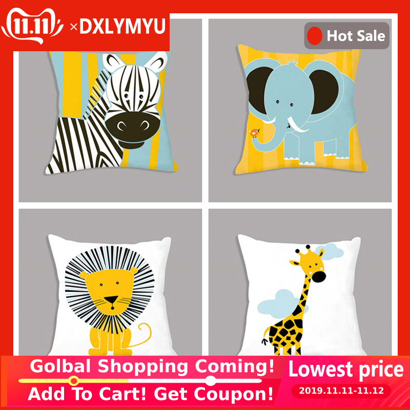 Cartoon Giraffe Lion Elephant Animal Printed White Plush Seat Cushion Throw Pillow 45x45cm Decorative Cushion Sofa Kids Room