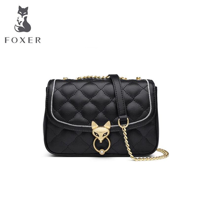 FOXER marque femmes sac en cuir mode chaîne sac en peau de vache sac de luxe sacs à main femmes sacs sacs de créateurs célèbre marque femmes sacs