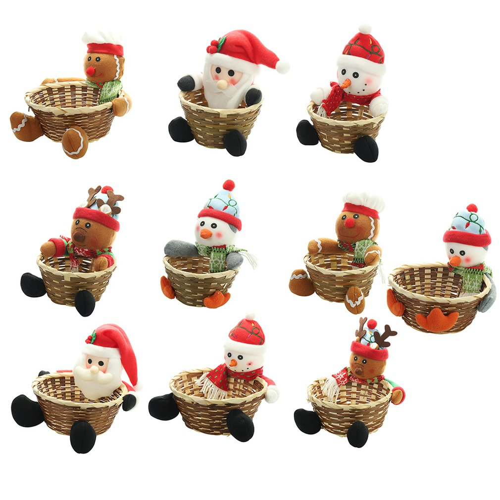 Christmas Fruit Basket Children Xmas Gift Candy Sweet Storage Box Santa ELK Holder