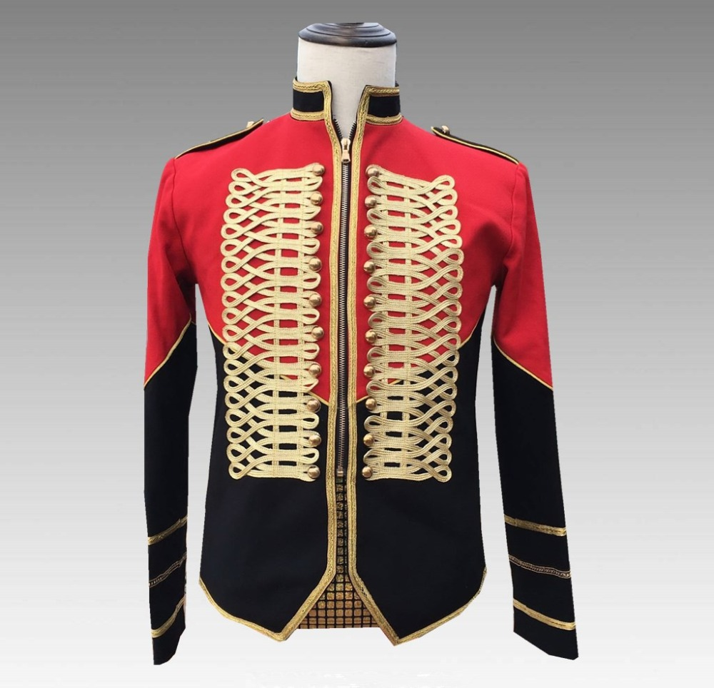 2020 New Men's Court Jackets Trendy Epaulet Black-red Stitching Military Uniform Coat Male Singer Host Nightclub Concert Costume