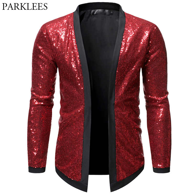 Sequin Bomber Jacket Men Red Shiny Glitter Jackets Men Cardigan Nightclub Dj Show Dance Stage Performance Mens Chaqueta Hombre