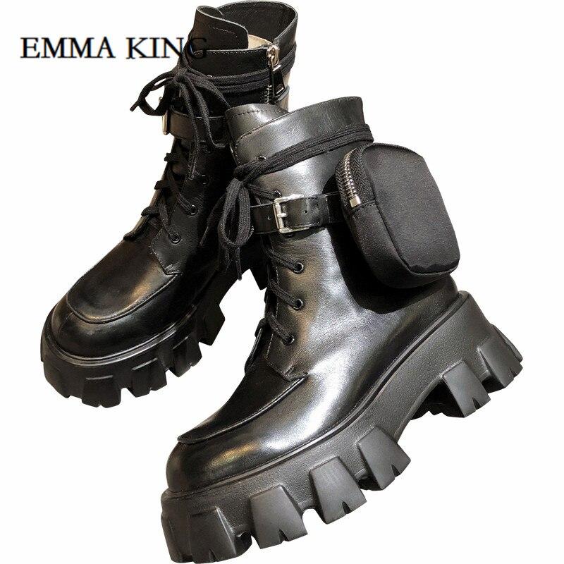 Femmes en cuir véritable plate-forme utilitaire Biker bottes avec poches noir Punk fond épais chevalier bottes Martin bottes pour femme