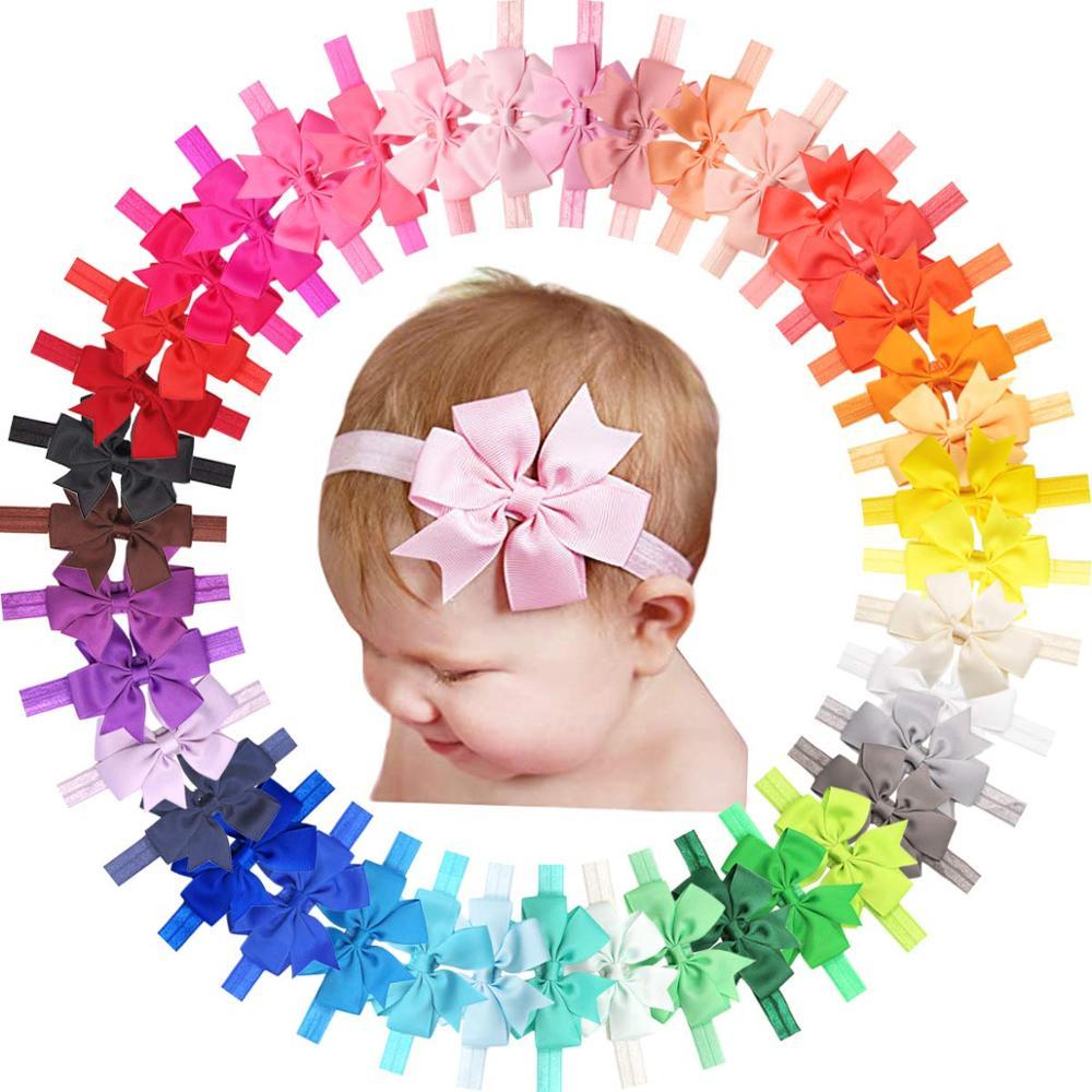 40 Pieces Baby Girls Headbands 3 Inch Grosgrain Ribbon Hair Bows Headbands For Baby Girls Infants Kids And Toddler