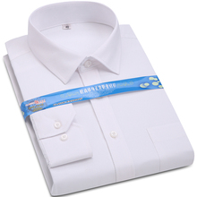 Men's Dress Shirt White Twill Long Sleeve Business Wedding Slim Fit Cotton Office High Quality Male Blouse