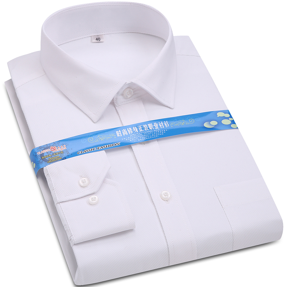 Mens Formal Dress Shirt White Twill Long Sleeve Business Wedding Slim Fit Cotton Office High Quality Male Shirts
