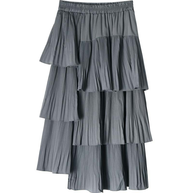 Multi-Level Black And White With Pattern Cake Dress Skirt