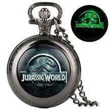 Unique Luminous Quartz Pocket Watch Classic Jurassic Park Theme Display Necklace Pendant Clock Gifts for Men Women Children