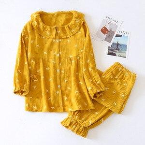 Image 2 - New Cotton Crepe Pyjamas Women Pajamas Sets Spring Long Sleeve Sleepwear O Neck Femme Lounge Pijama Mujer Household clothing