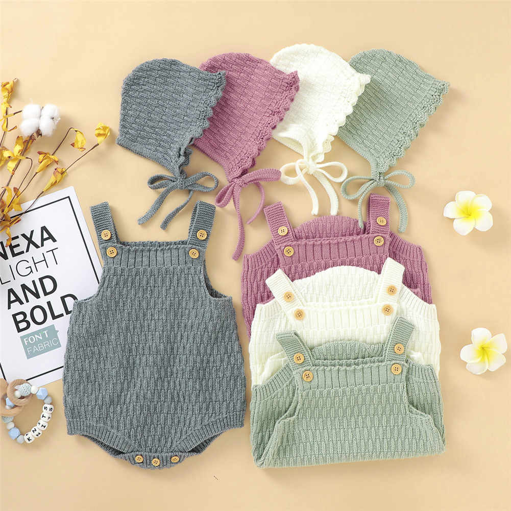 2Pcs Set Baby Knitted Romper Clothes Set Cotton Triangle Crotch Button One-Piece Jumpsuit+Hats Toddler Baby Boys Girls Outfits