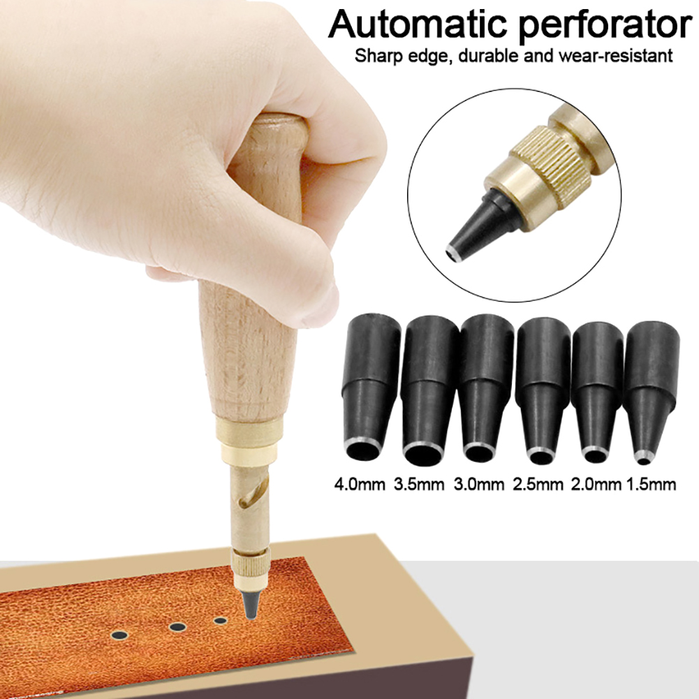 6Pcs Automatic Belt Rotary Punch Replaceable Belt Screw Hole Puncher DIY Leather Paper Tool Drill Craft Kit Bookbinding Tool Set