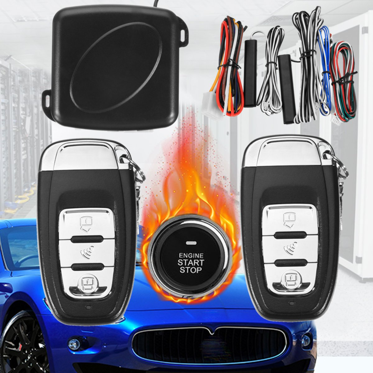 9Pc bricolage voiture SUV sans clé entrée moteur démarrage sans clé système d'alarme bouton poussoir démarreur à distance arrêt Automobiles Auto voiture accessoires - 6