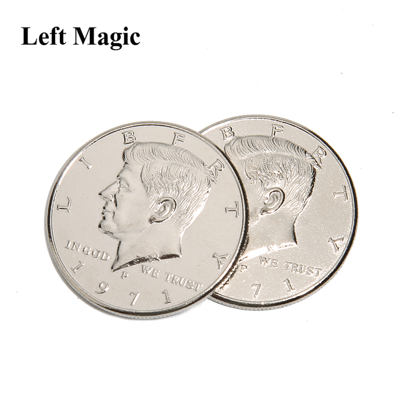 1 шт., волшебная монета с двойным лицом, половина доллара, голова с двух сторон, реквизит для волшебника, монета, волшебные трюки, забавные Вол...