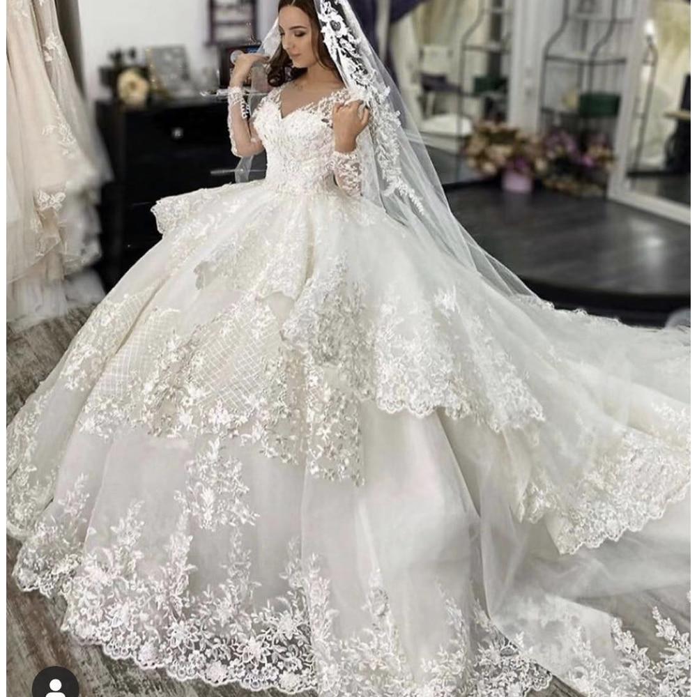 Lace Wedding Dresses 2020 V Neck Long Sleeve Puffy Bridal Dresses Ruffle Tiered Vintage Puffy Bridal Dresses Vestidos