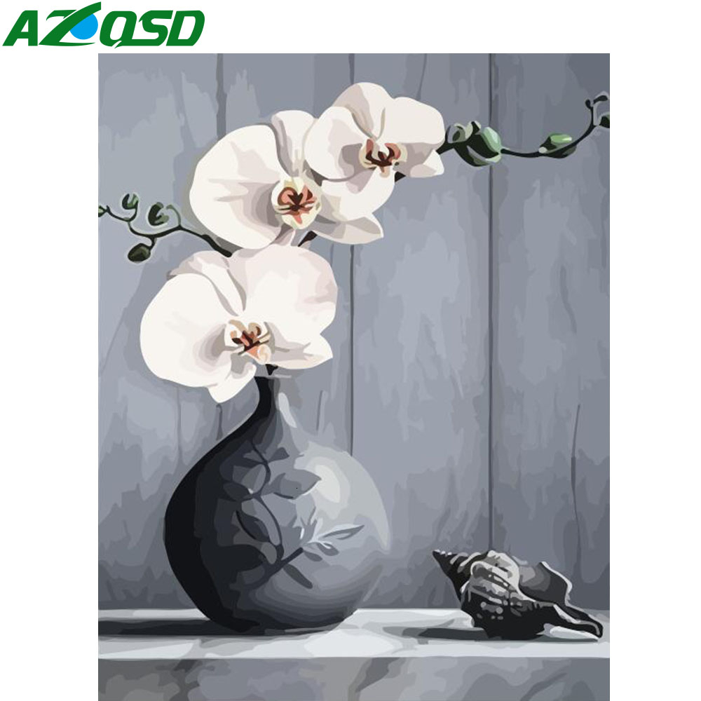 AZQSD Unframe Oil Painting By Numbers Flower For Adults Acrylic Paint Coloring By Numbers Vase  On Canvas Home Decoration