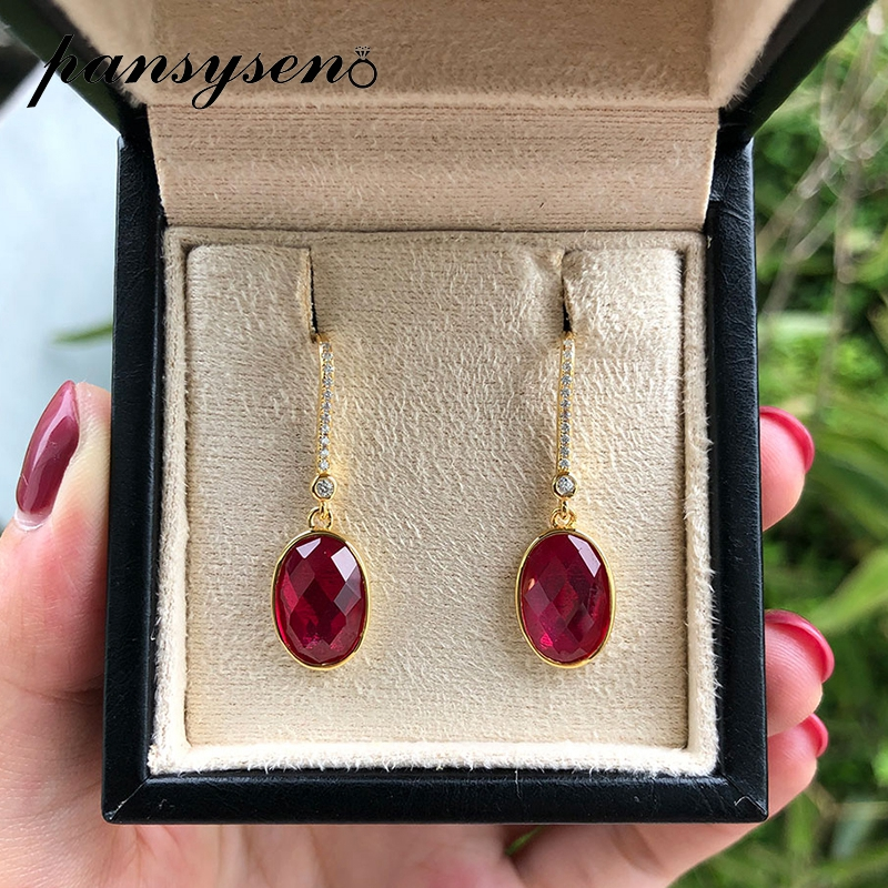 PANSYSEN Gold Color Vintage Natural Ruby Gemstone Dangle Drop Earrings For Women 925 Sterling Silver Anniversary Christmas Gifts