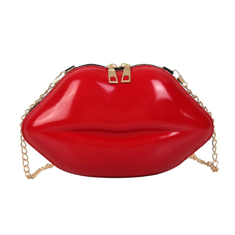 Lips Shape PVC Women Handbags Solid Color Zipper Shoulder Bag Crossbody Phone Purse Chain Messenger Bags Evening Party Clutch