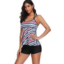 2pcs Stripe Print Bikini Set Halter Cross Women Swimsuit Tankini Swimwear plus flower print halter tankini set