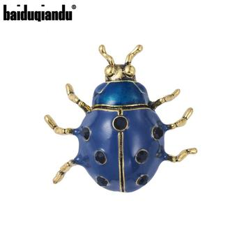 Baiduqiandu recién llegado broches de insectos de mariquita azul chapado en oro antiguo para mujer