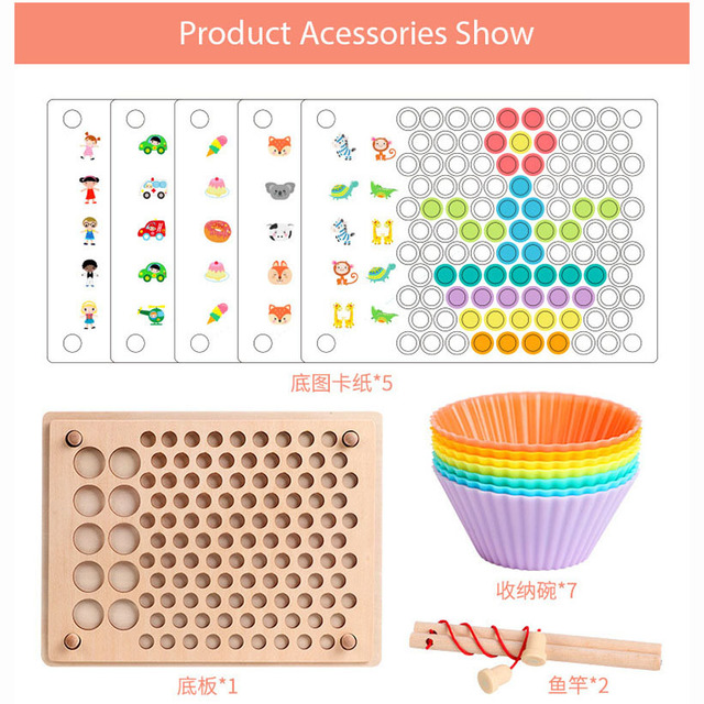 Wooden Various Features Puzzle Educational Toys for Children Hand Eye Coordination Training Baby Color Learning and Fishing Game