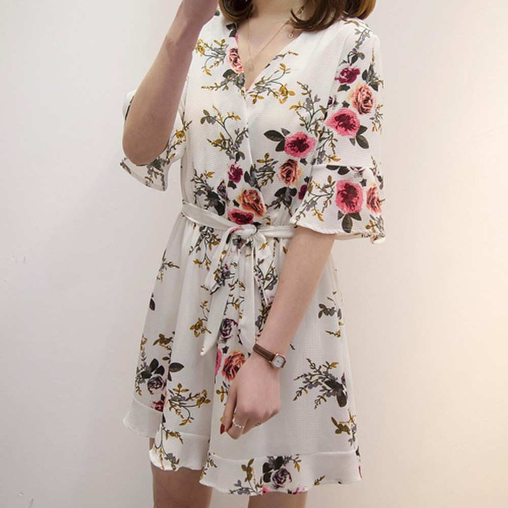 Women Flare Sleeve Floral Print Rompers Sashes Nice Summer V-Neck Belt Beach Sexy Short Jumpsuit Loose Plus Size Romper
