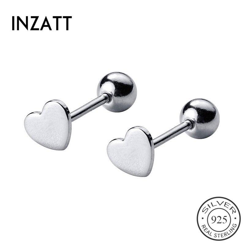 INZATT Real 925 Sterling Silver Minimalist Heart Bead Stud Earrings For Fashion Woman Party Cute Fine Jewelry Accessories