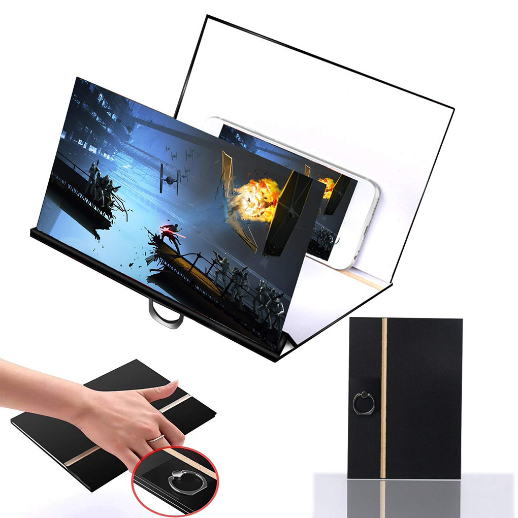 new 8 inch Wood Phone Screen Magnifier Cell Phone 3D HD Movie Video Amplifier Foldable Holder Stand Bracket image
