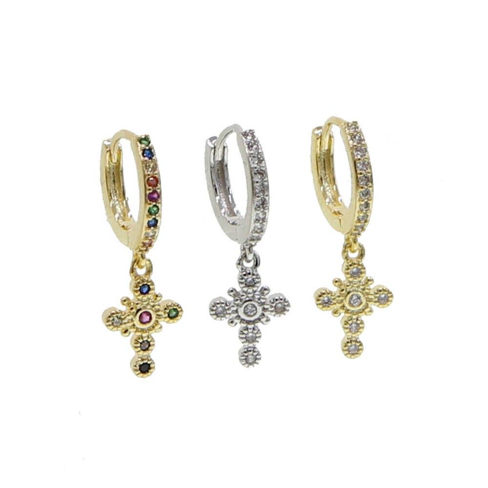 Cz Kreuz baumeln ohrring nette reizende tiny kreuz silber gold regenbogen 3 farben klassische Schmuck mode