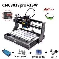 15W CNC3018 Pro Laser Engraving Machine ER11 15000mw Head Wood Router PCB Milling Machine Wood Carving CNC 3018 PRO GRBL