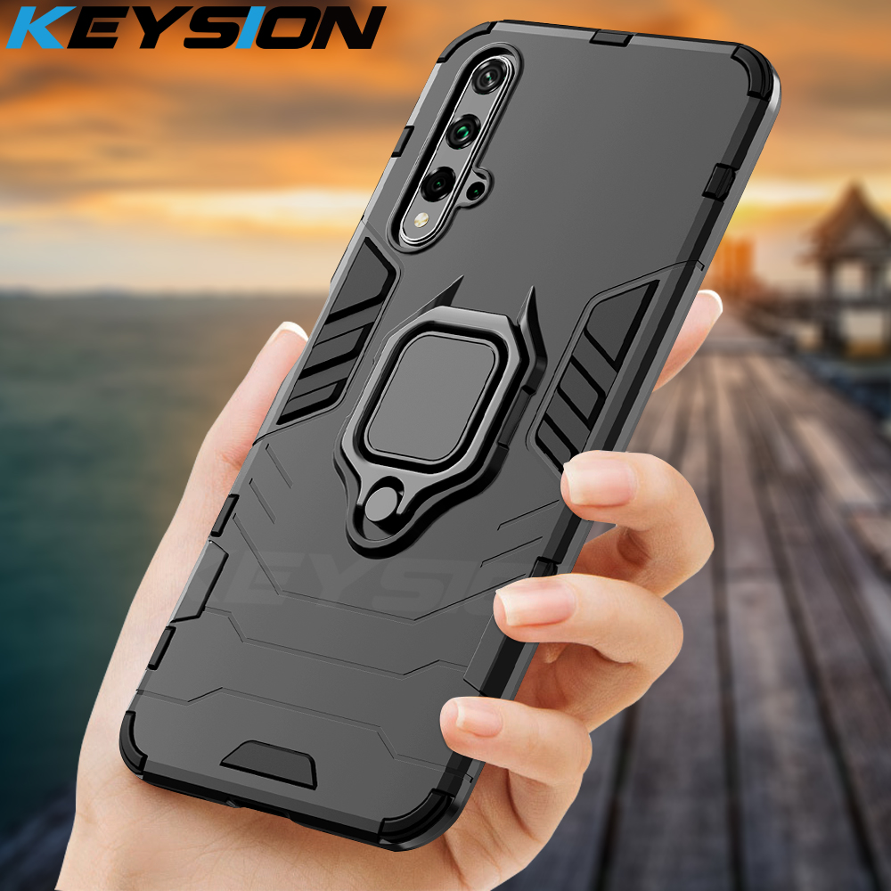 KEYSION Shockproof Armor Case For <font><b>Huawei</b></font> Mate 30 20 Pro P30 P20 lite P Smart <font><b>Y5</b></font> Y6 Y7 Y9 <font><b>2019</b></font> Phone Cover for Honor 20 Pro 10i 10 lite 8a 8X 9X image