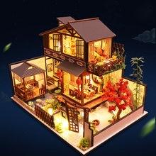 Diy casa de bonecas grande kits de construção em miniatura móveis de casa de boneca estilo japonês villa modelo presentes aniversário crianças brinquedos casa de madeira