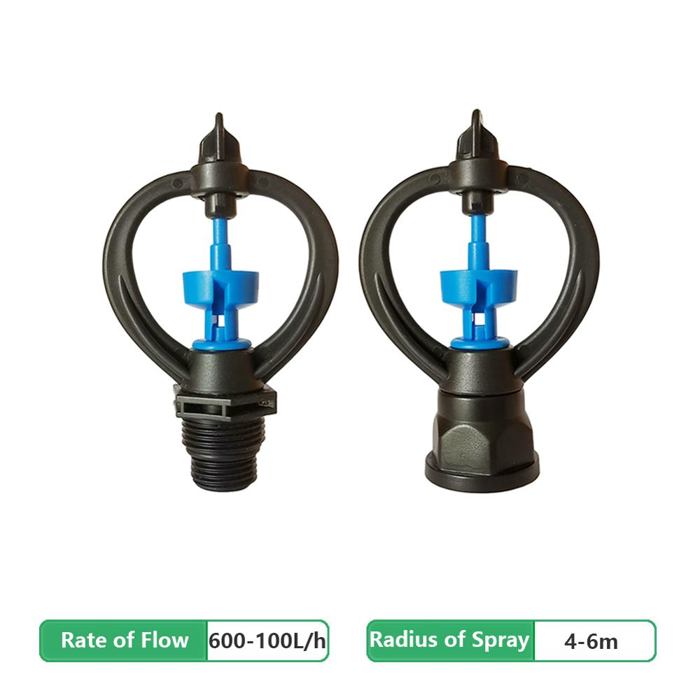 2Pcs 1/2''&3/4'' Male/Female Thread 360 Degree Automatic Rotary Nozzle Sprinkler Garden Lawn Irrigation System Plastic Nozzle