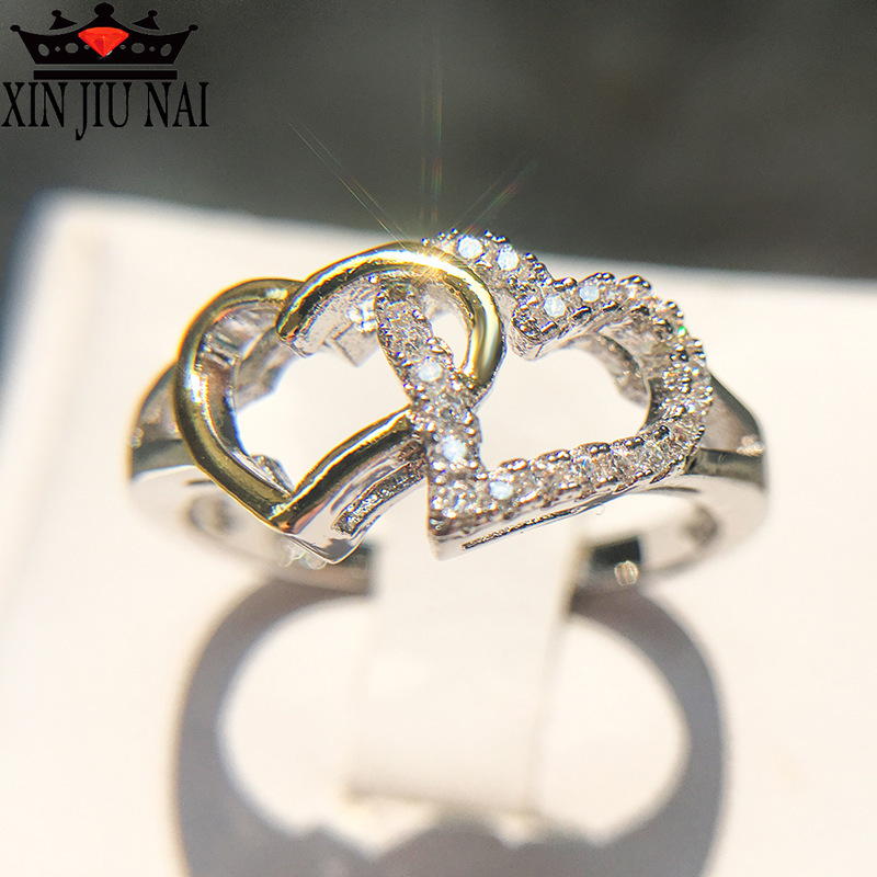 Micro-inlaid Rhinestone Special Double Heart Design Finger Ring For Women Anillos 925 Silver Jewelry Top Quality Female Anel