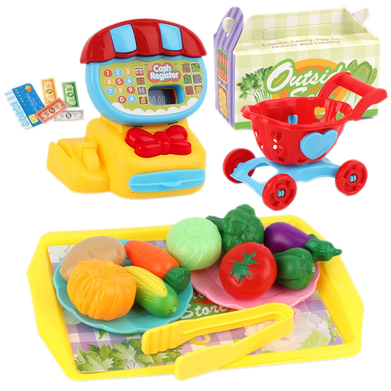22 PCS Mini Supermarket Cashier Toy Set Dessert Fruit Shopping Cart Toys