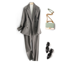 Autumn Winter Wool Women Blazer & Pants 2 piece Suit Set 201