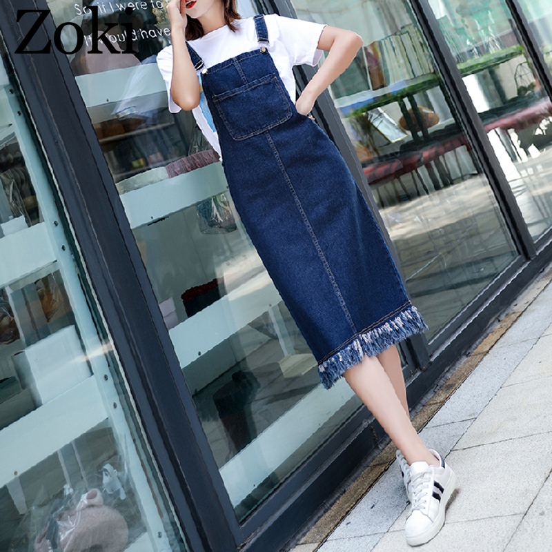 Zoki Sexy Women Denim Suspender Dress Spring Summer Vintage Loose Tassel Sarafan Overalls Sundress Casual Female Jeans Dress