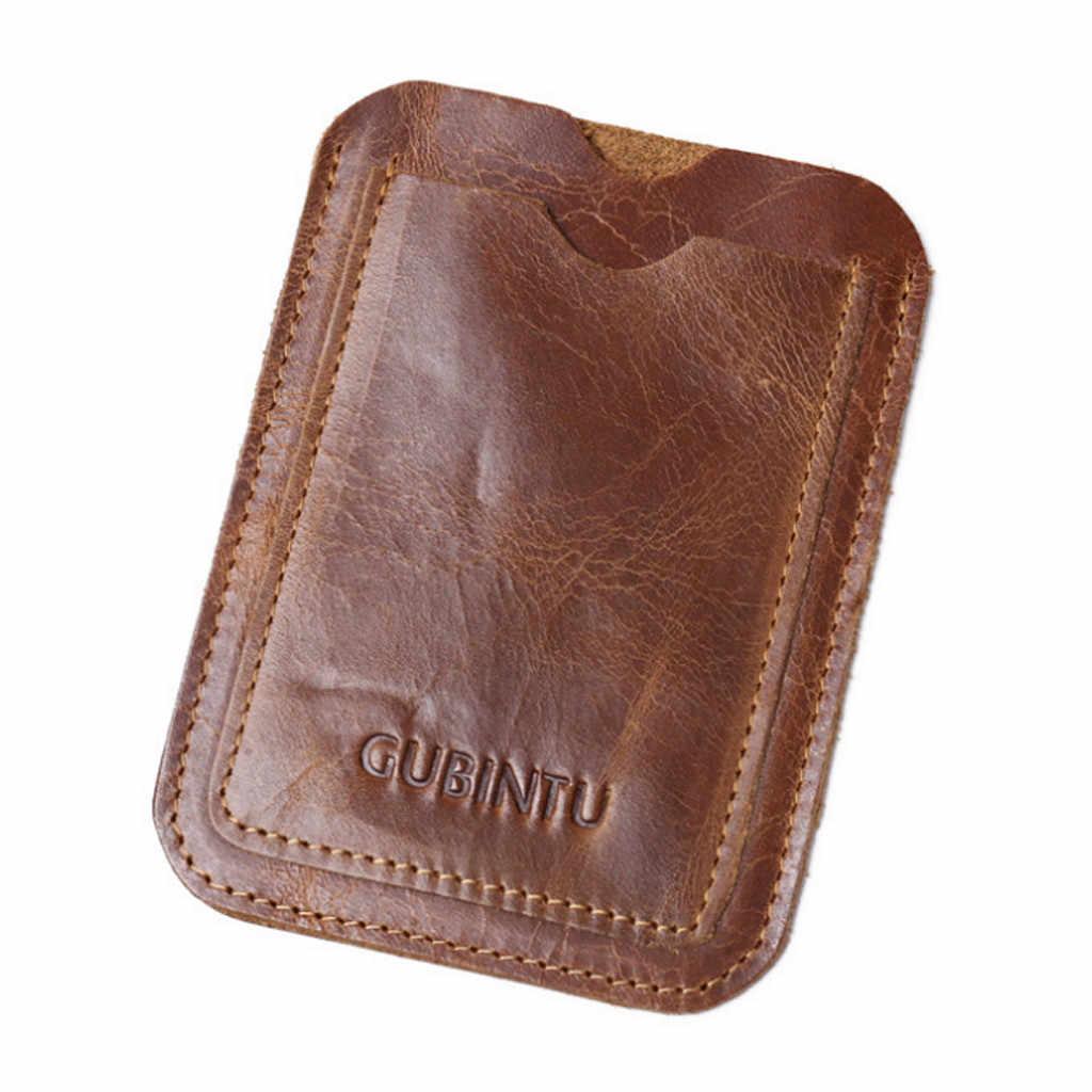 Porte-carte de crédit en cuir porte-carte rétro Vintage portefeuille en cuir de vache antivol porte-cartes d'identité