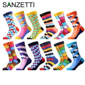 Image 2 - SANZETTI yeni sıcak renkli erkek çorap rahat penye pamuk yüksek kaliteli kaykay komik mutlu düğün 12 çift/grup elbise çorap