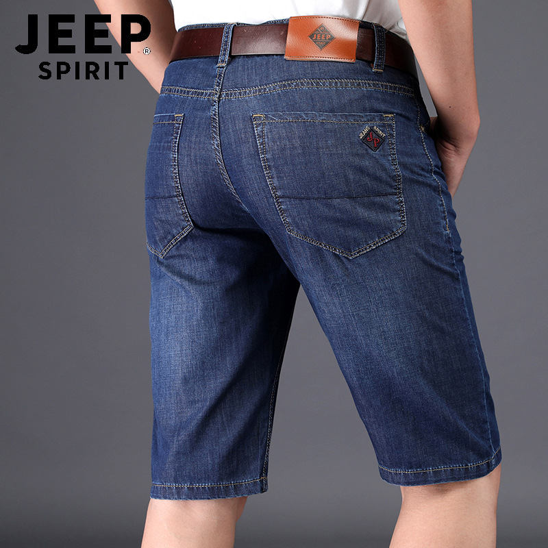 JEEP SPIRIT Mens Jeans Brand Summer Tencel Denim Short Casual Knee Length Straight Jeans Short Men Casual Thin Jeans For Men