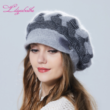 Womens winter hat Angora wool Hat with Color matching visor Knitted Mink decoration double warm Hat