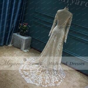 Image 3 - Mryarce vestido de noiva boho chique, moderno, único, vestido de noiva, com renda, mangas compridas, boêmio