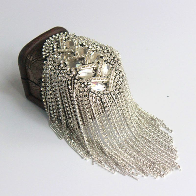 Women Men Silver Punk Fringe Shoulder Board Badge Vintage Glitter Rhinestone Tassels Chain Epaulet Uniform Accessories