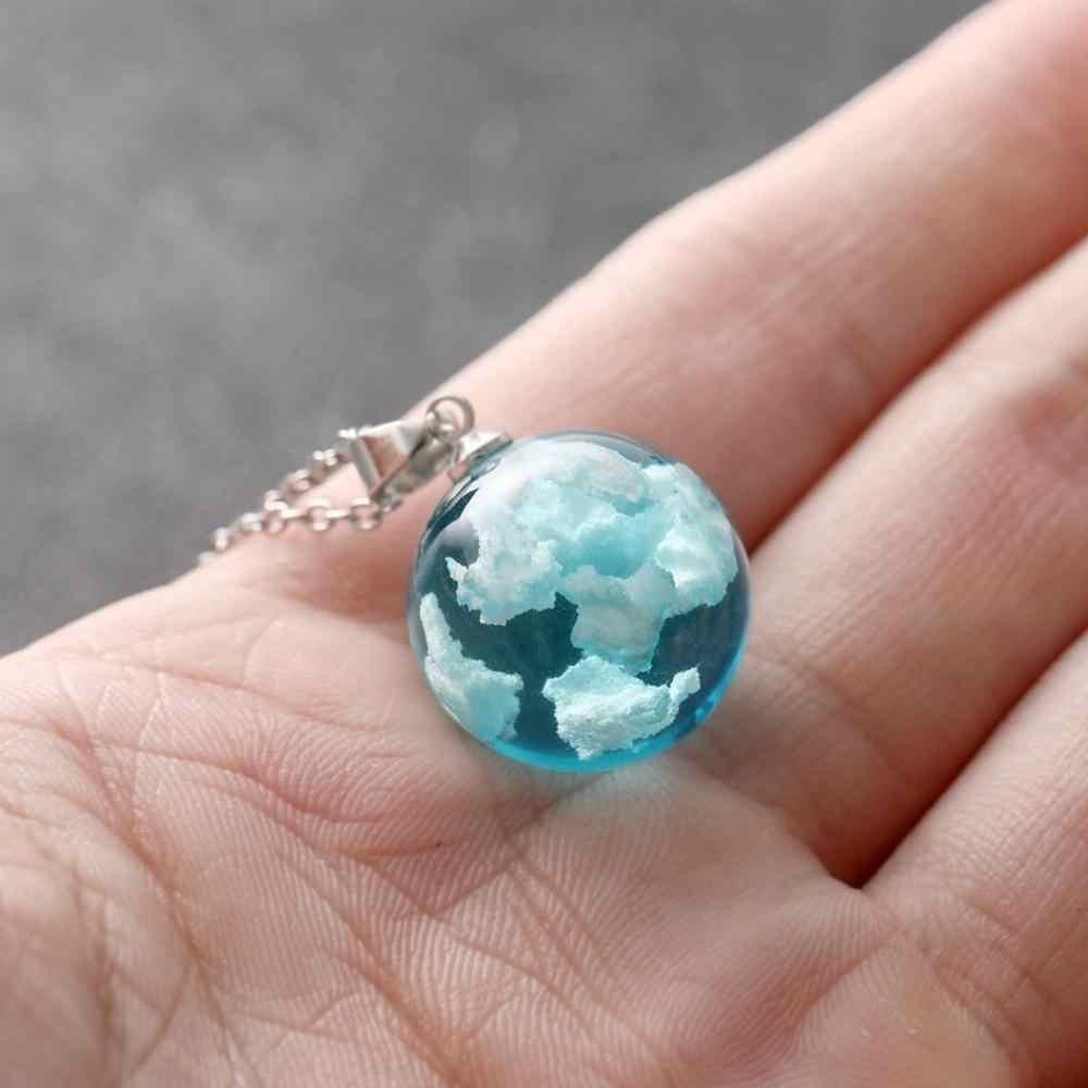 Natur Blau Sky Weiß Halskette Für Mädchen Cloud Harz Transparent Damen Halskette Schmuck Geschenk Frauen Halsketten Wertvollen Colliers