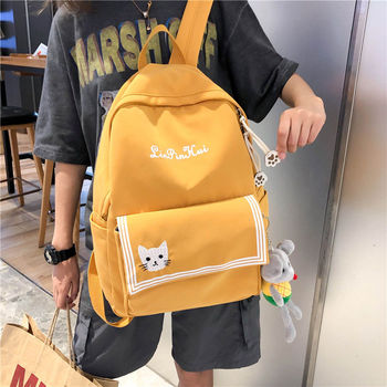 Backpack Cute Women Embroidery Cat School Bags for Teenage Girls New College Student Bagpack Oxford Junior High School Backpacks cute clear transparent women backpacks pvc jelly color student schoolbags fashion ita teenage girls bags for school backpack new