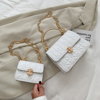 Lattice Pattern Women Shoulder Bag Round Ring Handle Crossbody Handbags