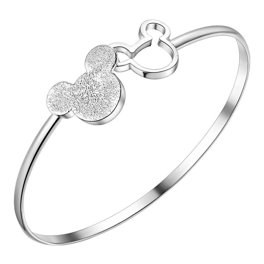 Wholesale 925 Sterling Silver Mickey Open Bangle Women Lady Noble Nice Bracelet Fashion Charm Jewelry Wedding Noble Party
