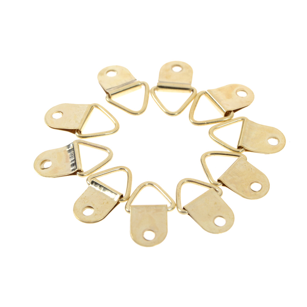 10Pcs Hanging Triangle Screws Helper Hanger Hooks Wholesale Universal Strong Golden D Rings Decor Picture Frames