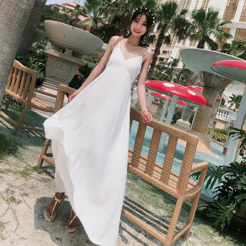 Bali Beach Skirt Women's Summer 2018 New Style Seaside Holiday Immortal Bohemian Charade Exposed Back Dress